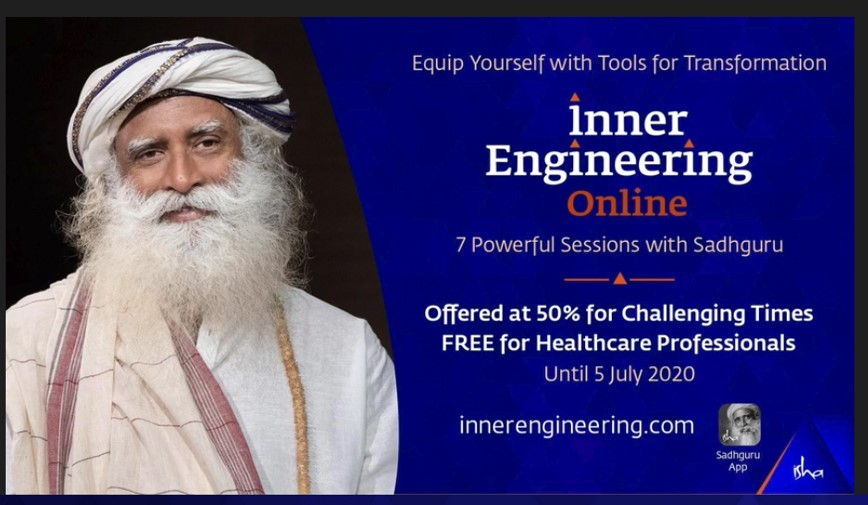 Online Inner Engineering program Free to HealthCare workers, 50%off for Others